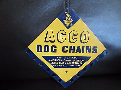 Vintage Dog Chains Metal Sign American Chain & Cable Company ACCO Bridgeport