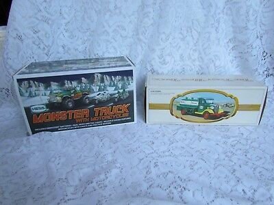 Lot of 2 Hess Trucks: 1980 First Hess Truck and 2007 Monster Truck w/Motorcycles