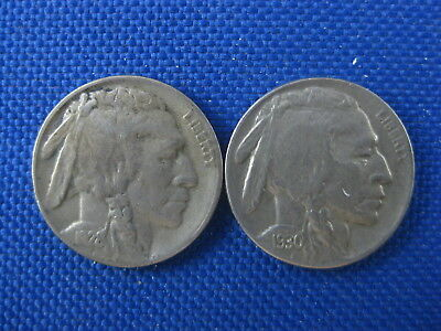 2 Pc U.s. Buffalo Nickel Coin Lot 1928 S 1930 S