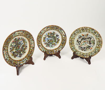 3 ANTIQUE 1850s CHINESE ROSE MEDALLION BUTTERFLY PLATES HAND PAINTED CANTON SET