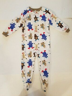 Just One You White Animal Snow Angels Fleece Long Sleeve Footed Pajamas Boys 4T