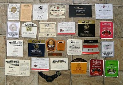 Wine Liquor and Champagne Bottle Label Collection, 28 Labels, Great Party Fun
