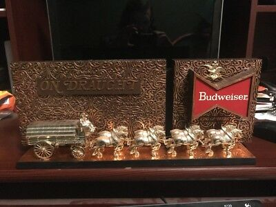 Vintage Budweiser Clydesdale On Draught Bar Display