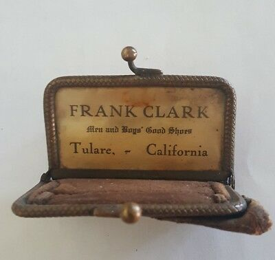 Early Frank Clark Men & Boys Good Shoes Tulare California Coin Purse