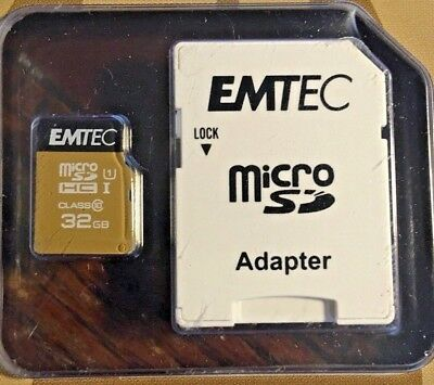 EMTEC 32GB/Go MICRO SD HC I with ADAPTER - Class 10  Still Factory Sealed
