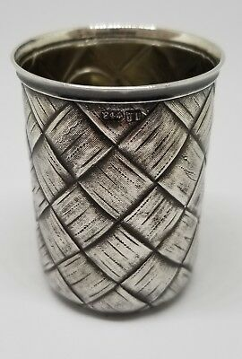 c.1890 Russian Imperial Hand Chased 84 Silver 88 Basket Weave Vodka Shot Glass