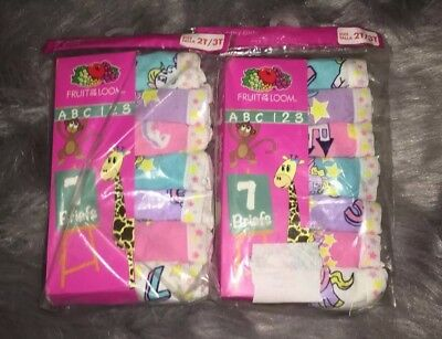 Fruit of the Loom Childrens Apparel Girls Toddler Brief- 2 Packs Size 2T-3T New