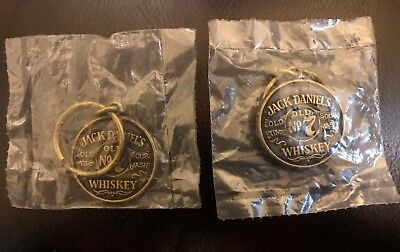 A Pair Of Jack Daniels Whiskey Old # 7-  Round Brass Key Chains