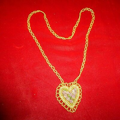 Early Ca 1920 Antique - Native American Iroquois Indian Beaded Heart Necklace