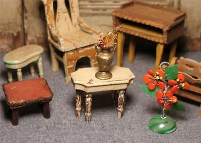Lot of Antique Vtg Dollhouse Doll House Miniatures Furniture Flowers