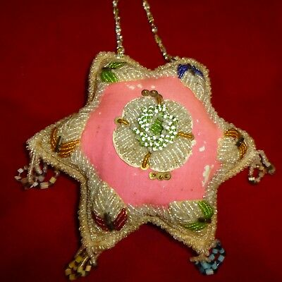 """Early Ca 1920 Antique - Native American Iroquois Indian 8"""" Star Beaded Pin Cusio"""