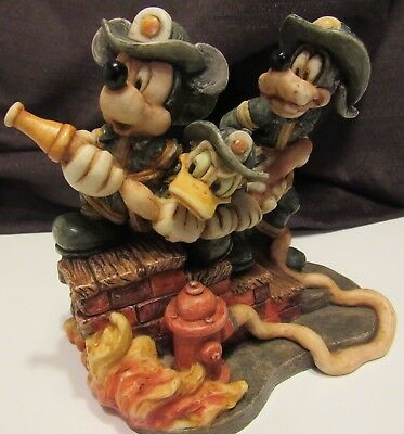 Harmony Kingdom Disney Firefighter Mickey Mouse and Co Donald Duck Goofy RARE!!!