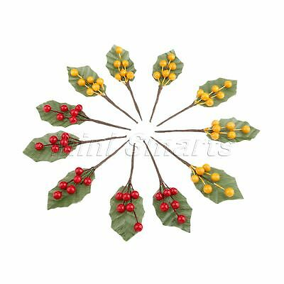 10x Fruits Decoration Artificial Berries Branch Leaves DIY Fake Flowers Stamens