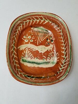 Vintage Mexican Bandera Redware Small Platter Tourist Pottery