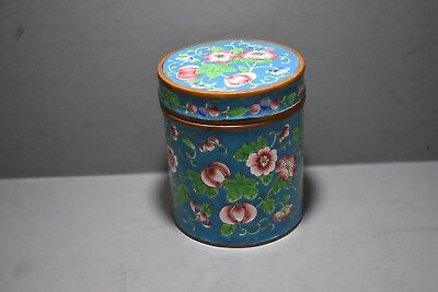 Cloisonne On Copper Tea Caddy, Mid 20Th Century Republic Roses?