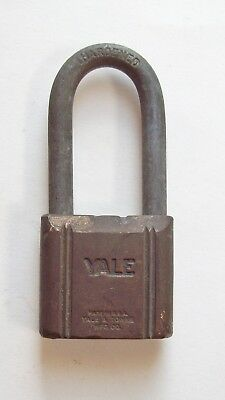 Vtg Yale Brass-Steel Padlock, Small Lock-Long Shackle, Old Yale & Towne, Antique