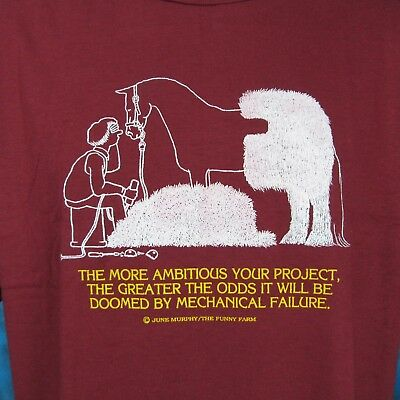 NOS vintage 80s HORSE HAIRCUT CARTOON  PAPER THIN T-Shirt LARGE/XL cowboy art