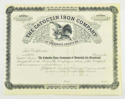 1800s Stock Certificate - The Catoctin Iron Company of Frederick Cty, MD $50/SH