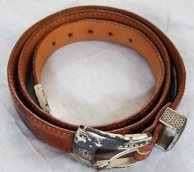 Men's Vintage Leather Belt Onyx By Brighton 36 Metal Buckle