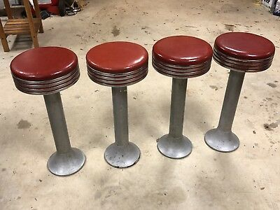 4 Vintage Diner Stools Soda Fountain Ice Cream Parlor