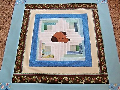 """Baby Boy Puppy Dog  Quilt Top, 36.5"""" x 38"""", Handmade Blue Puppy Bed Top Cover"""