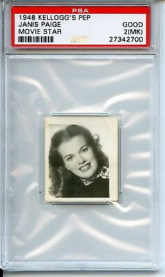 1948 Kellogg's PEP Trading Card Movie Star Janis Paige PSA 2(MK) Good Uncommon