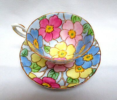 Vintage Tuscan England Bone China Cup and Saucer ~ Large Multi Pastel Floral
