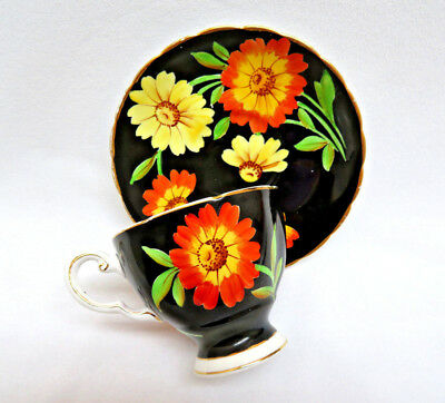 Vintage Tuscan England Bone China Cup and Saucer ~ Black with Daisies