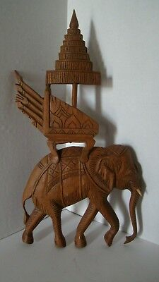 Estate Thailand Carved Wood Elephant Wall Hanging