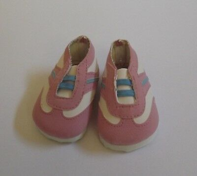 Doll Shoes - Pink & White with blue stripe sneaker for Baby Born / Baby Alive