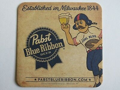 Beer Coaster ~ PABST Brewing Blue Ribbon Since 1844 ~ Cool Blue Football Player