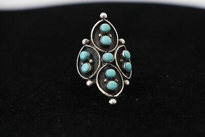 Antique 1940s HANDMADE Natural Turquoise Sterling Silver Ring BIG