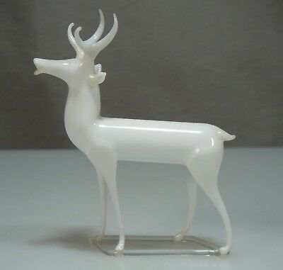 Vintage Mercury Blown Glass White Reindeer Figurine Ornament  53300