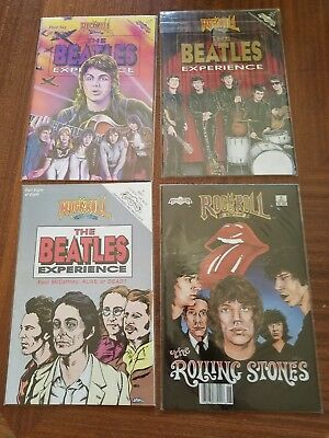 Rock And Roll Comics Lot Beatles & Rolling Stones Comic Books 4 in sleeves