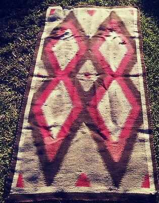 "Vtg Large 60"" Navajo Native American Hand Woven Indian Rug Dazzler"