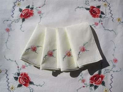 Hand Embroidered Vintage TABLECLOTH with FOUR NAPKINS 'NEVER USED'