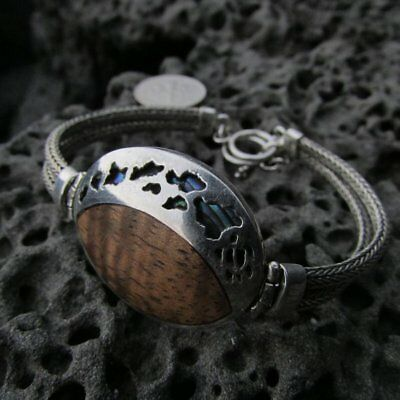 Woman's Bracelet with Hawaii. Koa Wood. Abalone Shell. Sterling Silver.
