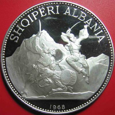 1968 ALBANIA 25 LEKE 2.7oz SILVER PROOF HUGE 60mm SWORD DANCE WALLET + COA RARE!