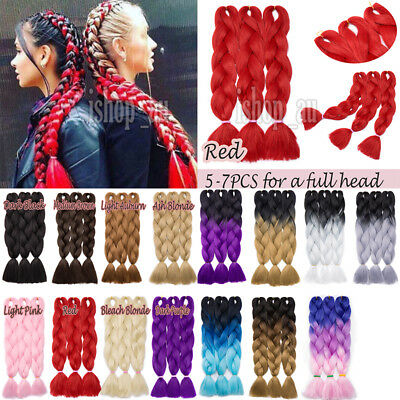 Fashion Synthetic Kanekalon Jumbo Braids Braiding Hair Extension Multi color 24""