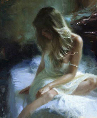ZOPT598 long hair girl sitting on bed hand painted oil painting home art canvas