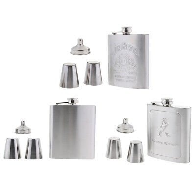 7oz Stainless Steel Hip Flask Whisky Wine Drink Gift Pocket Travel Camping