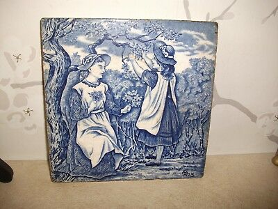 """Rare 8"""" Original Antique Wedgwood Blue and White MAY Tile C1880"""