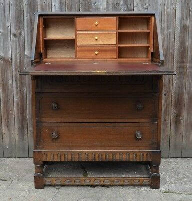 Vintage Oak Writing Bureau Desk Home Office Drawers Old Charm Priory Jaycee