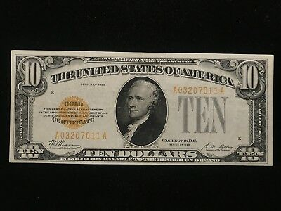 1928 $10 Ten Dollar Gold Certificate Note FR.2400 Small Size Almost Unc AU