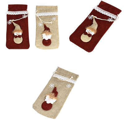 Christmas Santa Wine Bottle Cover Snowman Bag Party Decor Xmas Ornament Gift