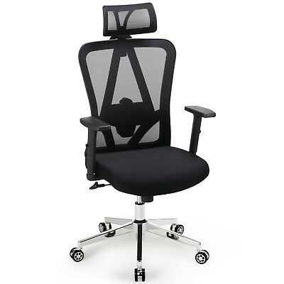 Ergonomic Mesh Office Chair Adjustable High-Back Executive Chair Padded Seat UK