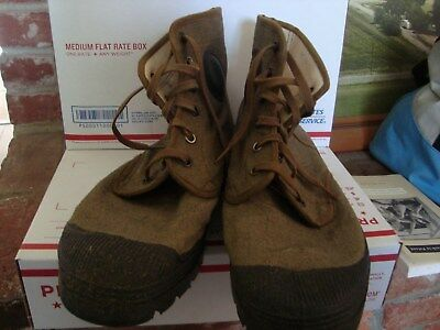 FRENCH ARMY INDOCHINA PATTAUGAS CANVAS RUBBER BOOTS sz12
