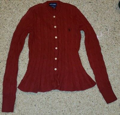 Ralph Lauren Kids Cable Knit Cardigan Sweater Size 8/10 Flare Bottom Red