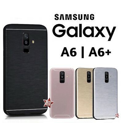 COVER CUSTODIA RIGIDA IN ALLUMINIO SLIM + VETRO per SAMSUNG GALAXY A6  A6+ PLUS
