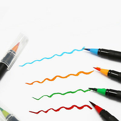 New Watercolor Brush Water Based Lettering Marker Calligraphy Pen 20 Colors